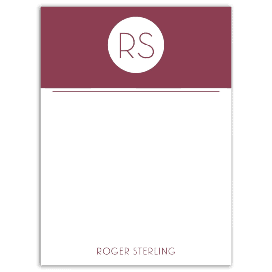 Mr. Monogram Notecard - Maroon
