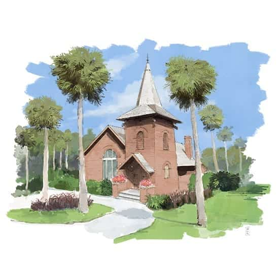 Illustrated Wedding - Jekyll Island's Historic Faith Chapel