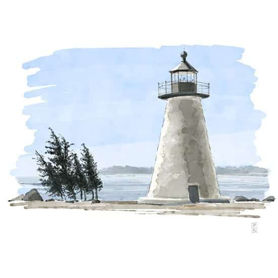 Illustrated Wedding illustration of Ned Point Lighthouse