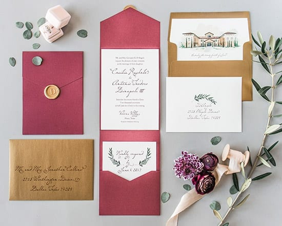 Illustrated Weddings drawing of Verona Villa Wedding Invitation Suite (veronavilla.com(