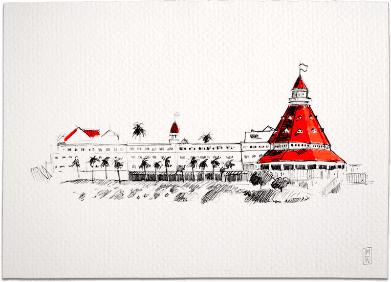 Creative Wedding Illustration of the Hotel Del Coronado